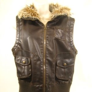 Charlotte Russe Faux Fur Leather Bomber Jacket